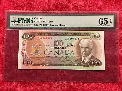 Bank of Canada BC-52a 1975 100 Dollar PMG 65EPQ  Lawson/Bouey