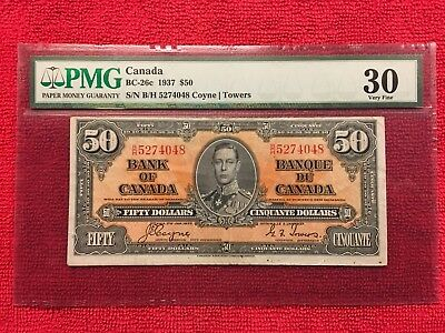 Bank of Canada BC-26c 1937 50 Dollar PMG 30 Coyne/Towers