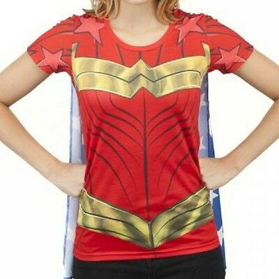 DC WONDER WOMAN Sublimated Junior's Costume T-Shirt with Removable Cape S-2XL