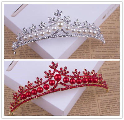 Red/Sliver Pearl Tiaras Bridal Jewelry Quinceanera Rhinestone Crystal Crowns