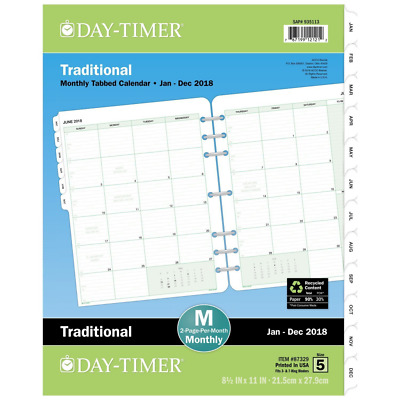 Day-Timer Refill 2018, Two Page Per Month, January 2018 - December 2018, 8-1/2""