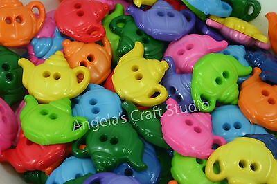 10 TEAPOT Bright Novelty Buttons - Select Your Colour - Great for all Crafts