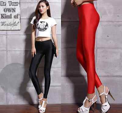 Sexy Shiny Fluorescent High Waisted Stretchy Punk Disco Dance Leggings Pants