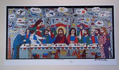 HOWARD FINSTER  Large Last Supper Print  SIGNED NUMBERED  Folk Art