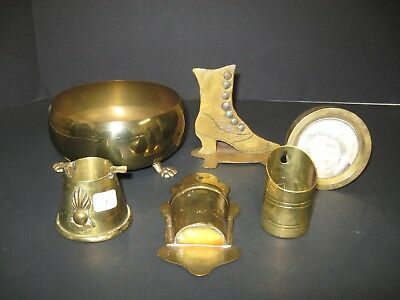Lot Of Solid Brass Items Vintage & Antique Brass Shoe Ashtray Picture frame Bowl