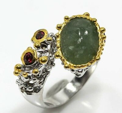 Handmade Jewelry Natural Green Jade 925 Sterling Silver Ring