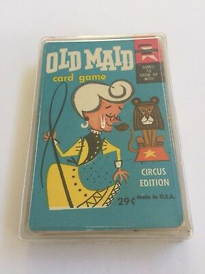 Old Maid Card Game Lot Circus Edition Ed-U-Cards Whitman Plastic Case Vintage
