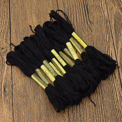 Black Embroidery Thread Hand Cross Stitch Floss Sewing Skiens Craft DIY Handmade