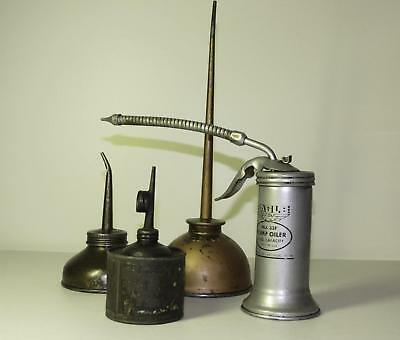 Lot of 4 Vintage Oiler Thumb Oil Metal Cans 2 Eagle & 2 Unmarked