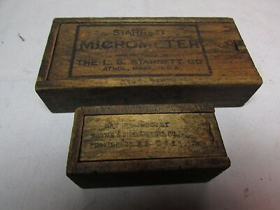VTG. Early Lot Of 2 Finger Jointed Wood Boxes~Tools~Brown & Sharpe~Starrett