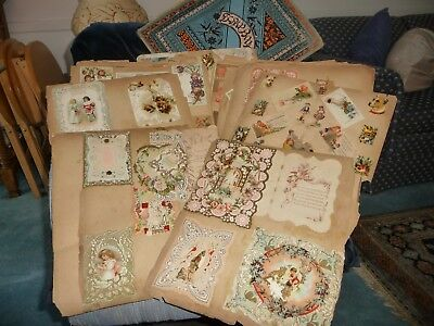 #1123 antique Victorian Scrapbook AS IS Die cuts Greeting Cards Trading Cards +