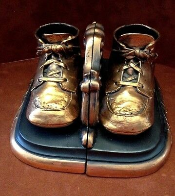 ~ Vintage Bronzed Precious Baby Shoe Bookends ~ Good Condition ~