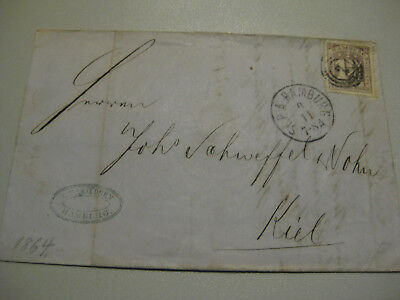 Briefumschlag Bzw Brief Kiel Hamburg 1864 Briefmarke Schilling 1 1