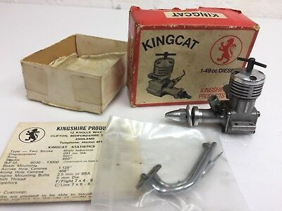 Vintage Kingcat 1.49cc model diesel Aircraft engine in box with instructions