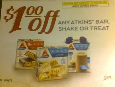 (15) $1 Off Any Atkins Bar, Shake or Treat Multipack 4-30-18