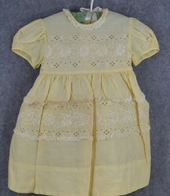 child girl baby dress 1940-50 Love yellow lace vintage sz 6  vg