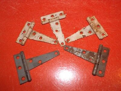 5 Vintage Rustic Barn Door Old Gate T Strap Hinges Paint Hardware Rusty Patina