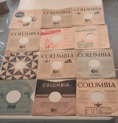 Lot Of 12 Vintage 10 Inch 78 Rpm Columbia Record Sleeves...assorted