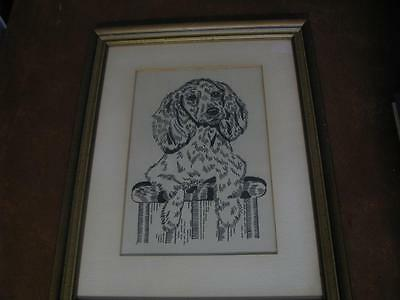 Picture of Cocker Spaniel Dog on cloth Black and White Framed under Glass