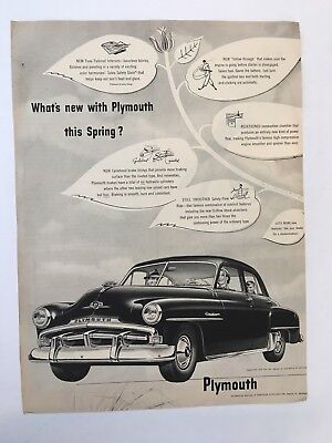 Vintage 1940's What's New With Plymouth This Spring Magazine Print Ad