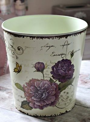 Metal Large Floral Shabby Chic Script French Style Chateau Waste Paper Room Bin