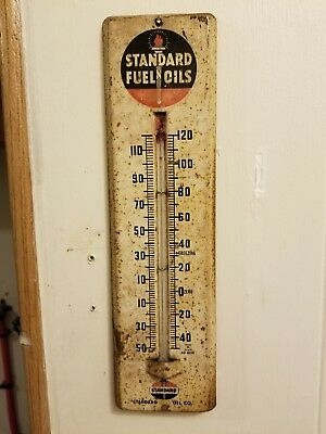 VINTAGE STANDARD OIL CHEVRON GAS STATION ADVERTISING THERMOMETER non working
