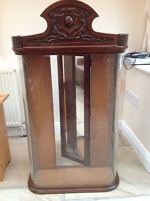 Victorian mahogany shop counter bow fronted display / collectors cabinets