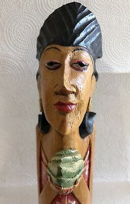 """13""""1/2 Hand Carved Wooden Egyptian Figure"""