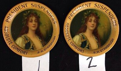 PRESIDENT SUSPENDERS TIN LITHO ADVERTISING TIP TRAY advertising piece