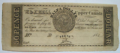 183- W. & J. Bell $1/2 Dollar / 30 Pence Upper Canada Obsolete Remainder Note