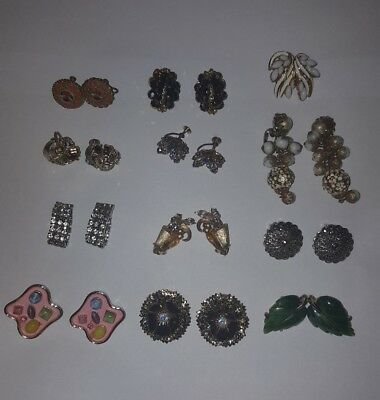 Vintage rhinestone high end + earring LOT of 12 pair Lisner ART Italy mosaic++
