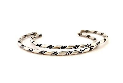 Navajo Pair of Sterling Silver Twisted Wire Bracelets