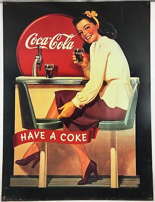"Vintage 1991 ""Have A Coke"" Coca-Cola Metal/Tin  Advertising 29"" x 21.5"" Sign"