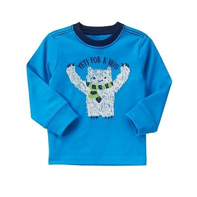 """NEW GYMBOREE """"Yeti for a hug"""" Long sleeves Top Tee Short SIZE 12-18M"""