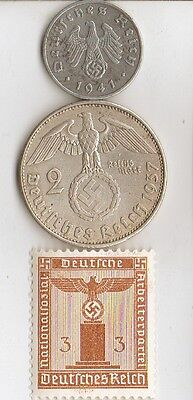 -*WWII - *german  and  *US   coins  and  stamps  +++