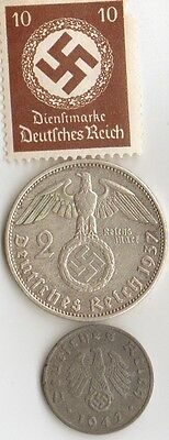 -5-Antique *WW2 -  SILVER  and   ZINK   - *us   and - *german coins/stamps++