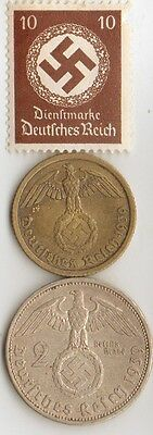 -5-*WW2 -  SILVER  and  BRASS   - *us   and - *german coins/stamps++