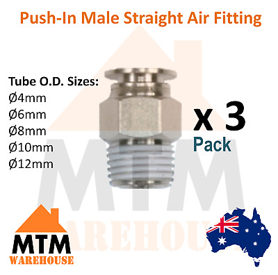 3 x Push in Air Fitting Hose Male Straight 4mm to 12mm Outer Diameter Pack