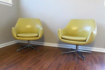 Vintage Mid Century Mod Stow Davis Bubble Chairs Set Of 2 Yellow Gold Eames Era