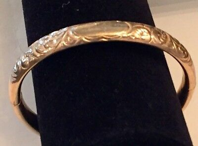 Antique Signed HL & P Victorian Repousse 10 KT HEAVY GF Hinged Bangle Bracelet