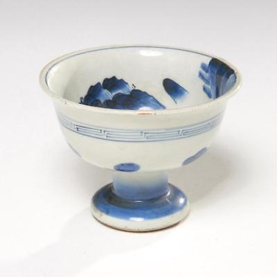 Chinese Blue & White Porcelain Stem Cup Qing Dynasty