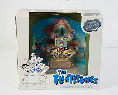 NIB 1994 The Flintstones Animated Moves Like Magic Wall Mount Action Clock