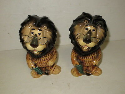 % Vintage Pair Of Lefton Japan Lion Piggy Banks Coin Bank %