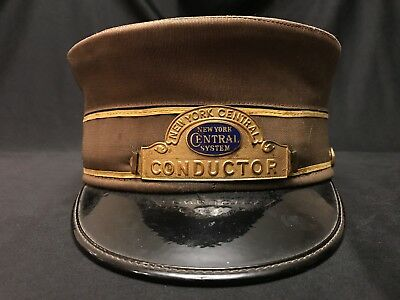 New York Central System Railroad Conductor Uniform Cap and Badge