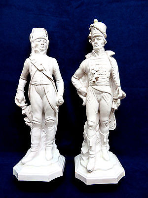 Vintage Pair of Italian / Italy White Glazed Pottery Soldier Figurines