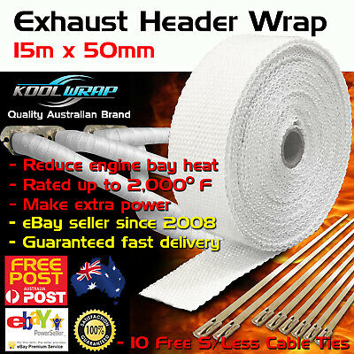 HEADER EXHAUST WRAP TAPE 2000F Heat Protection White 15m X 50mm + 10 Steel Ties
