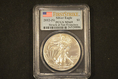 First Strike 2012 San Francisco American Eagle 1 oz Silver Coin PCGS Graded MS69