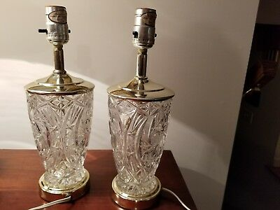 Pair Of Large Cut Heavy Clear Crystal Glass And Brass Table Lamps