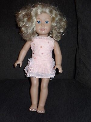 American Girl Doll Blonde Curly Hair Blue Eyes Freckles with American Girl Dress