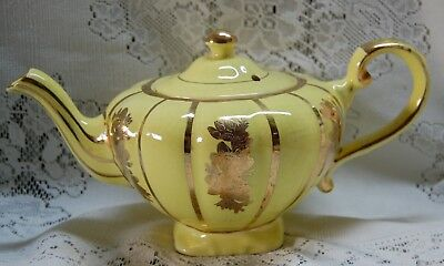 Vintage Arthur Wood 3 Cup Teapot Yellow And Gold
